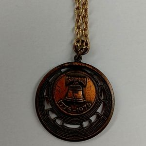 Vintage Bronze Colored Liberty Bell Necklace